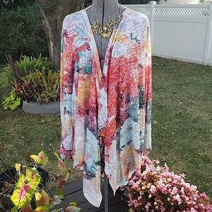 Calvin Klein Lightweight Watercolor Sweater Wrap